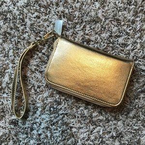NWT Chico's Gold Zip Wristlet